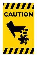 voorzichtigheid snijden van vingers roterend mes symbool teken op witte achtergrond