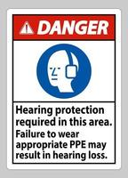 gevaarsteken gehoorbescherming vereist in dit gebied, het niet dragen van de juiste PBM kan leiden tot gehoorbeschadiging vector