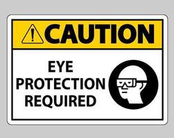 waarschuwingsteken oogbescherming vereist op witte achtergrond