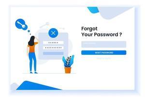 verwarde vrouw die haar wachtwoordillustratie voor webpagina vergeet vector