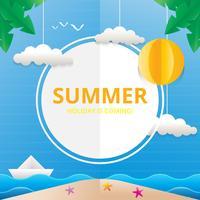 Strand en zee illustratie voor zomer thema in Papercraft stijl vector