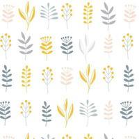 minimalistische Scandinavische natuurlijke stijl Pasen naadloze oppervlaktepatroon met bloementakken, vectorillustratie op witte achtergrond. nordic folk textuur vector