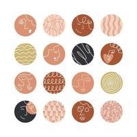 verzameling creatieve covers van sociale media met hoogtepunten, schoonheid, liefde, psychologiethema. ontwerpverhalen ronde icoon collectie. abstracte vrouwelijke en mannelijke gezichten, hoofden, haar, harten. vector illustratie