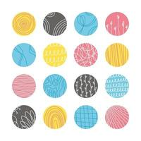 verzameling van creatieve abstracte geometrische sociale media markeert omslagen. ontwerpverhalen ronde icooncollectie. vlekken, golven, strepen, spiralen, stippen, lijnen, ruiten en andere patronen. vector illustratie