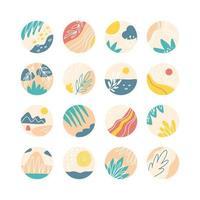 verzameling creatieve covers van sociale media met hoogtepunten, reisthema. ontwerpverhalen rond pictogram met verzameling van florale elementen. zee, zon, strand, zand, bergen abstract. vector illustratie