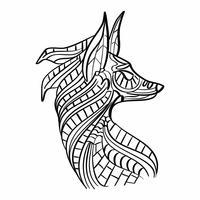 Fox kleurplaat vector