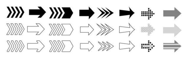 verzameling verschillende pijlen ondertekenen. zwarte vectorpijlen op witte achtergrond vector