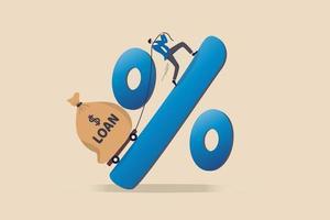 rentetarief voor persoonlijke lening, financieel risico, schuld of hypotheek om terug te betalen, krediet- of monetair beleidsconcept, man die hard probeert om zware geldzak met het label van lening de heuvel op te trekken op percentageteken. vector