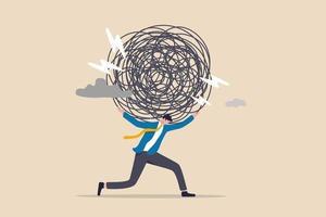 stressbelasting, angst door werkmoeilijkheden en overbelasting, probleem in economische crisis of druk door te veel verantwoordelijkheidsconcept, moe uitgeputte zakenman met zware rommelige lijn op zijn rug vector