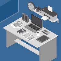 Isometrische werkruimte vectorillustratie