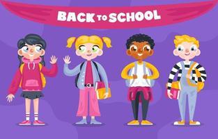 karakters van studenten in de rug naar school vector