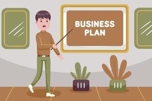 zakenman die presentatie maakt over het businessplan van het bedrijf vector