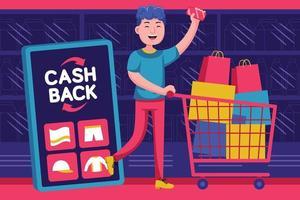 gelukkige jongeman krijgt geld-terug-promotie bij supermarkt vector