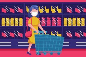 jonge vrouw lopen met lege trolley bij supermarkt met masker vector
