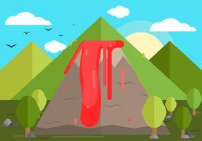 Vulkaan achtergrond illustratie