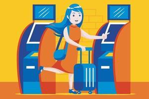 jonge vrouw met behulp van zelfkaartautomaat op de luchthaven. vector
