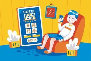 jonge man online hotel boeken met mobiele app. vector
