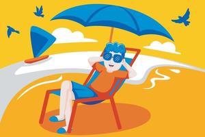 gelukkig man zit graag in een stoel op het strand. vector