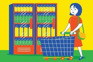 jonge vrouw winkelen bij de supermarkt. vector
