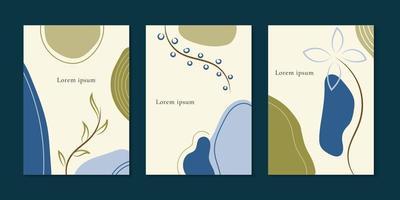 set van brochure minimale sjabloon organische vormen met bloemen en laat ruimte voor uw tekst. vector