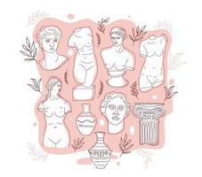het oude Griekenland en Rome instellen traditie en cultuur vectorillustratie. de lineaire trend van de oude poster, het oude Griekenland en het oude Rome. vector ontwerp op roze.