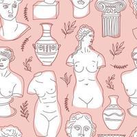 het oude Griekenland en Rome instellen traditie en cultuur vector naadloze patroon. de lineaire trend van het oude oppervlaktepatroon, het oude Griekenland en het oude Rome. oppervlaktepatroon op roze.