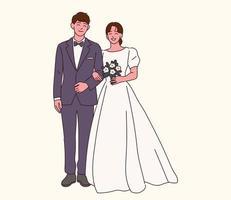 de bruid en bruidegom in trouwkleding. vector