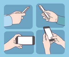 verschillende poses van de hand kijken naar de mobiele telefoon. vector