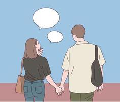 het achteraanzicht van een man en een vrouw die hand in hand lopen. vector