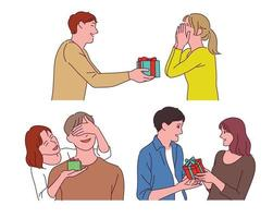 man- en vrouwparen geven elkaar geschenken. vector