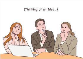 zakenmensen zitten aan tafel en denken na. vector