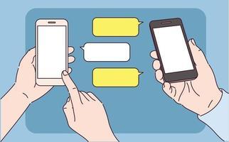 twee mobiele telefoons sturen berichten naar elkaar. vector