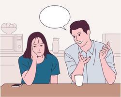 de man en de vrouw aan tafel hebben een gesprek, en de vrouw kijkt verveeld. vector