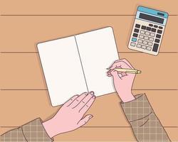 de hand die de pen vasthoudt, schrijft in een notitieboekje. vector