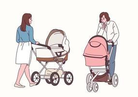 voor- en achteraanzichten van vrouwen die met kinderwagens lopen.