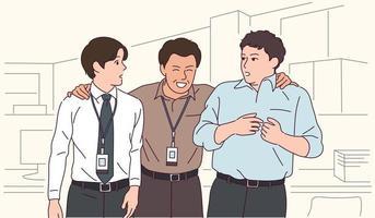 zakenlieden van verschillende leeftijden voeren een gesprek. vector
