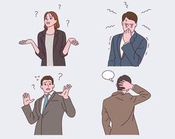 verschillende uitdrukkingen en gebaren van kantoorpersoneel. vector