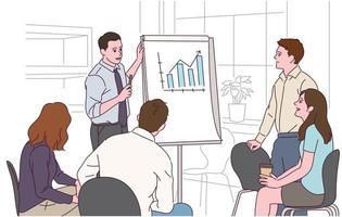 zakenmensen zitten rond en een man geeft een presentatie terwijl hij naar een grafiek kijkt. vector