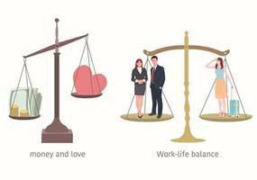 balans tussen werk en privé. het gewicht van geld en liefde. vector