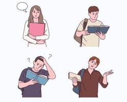 student karakter houdt een notitie vast en maakt verschillende gebaren. vector