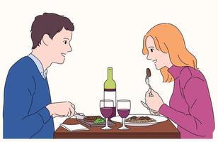 een paar kijkt elkaar aan en glimlacht. ze eten romantisch in een leuk restaurant. vector