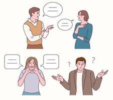mensen en pratende bubbels vector