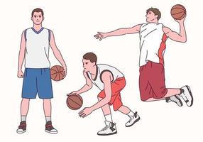 basketbalspeler karakter. een basketbalspeler die in een mooie pose speelt. vector