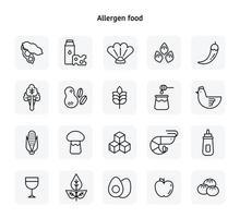 allergeen voedsel zwarte lijn pictogrammen. platte ontwerpstijl minimale vectorillustratie. vector