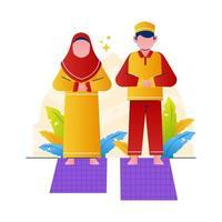paar moslim bidden illustratie
