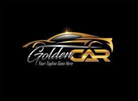 gouden sportwagen voertuiglogo vector