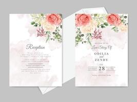bruiloft kaart uitnodiging met prachtige bloemen hand getrokken vector