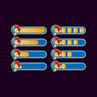 set van grappige casual magneet voortgangsbalk voor game ui asset elementen vector illustratie