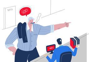 boze dikke baas schreeuwen op werknemer vector platte illustratie