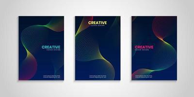 kleurrijke omslagcollectie met golvende lijnen vector